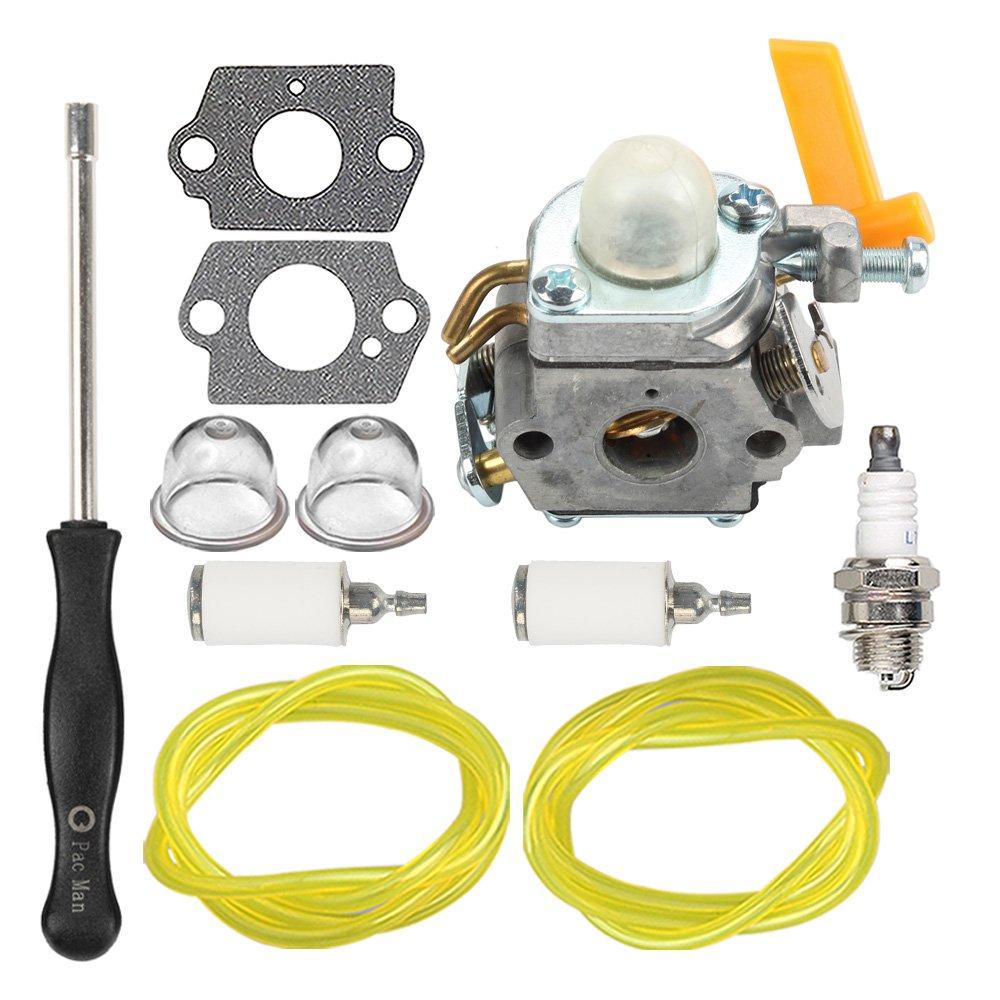 HIPA 308054013 Carburetor with Fuel Line Filter Spark Plug for Ryobi Homelite 308054012 308054004 308054008 25cc 26cc 30cc String Trimmer Leaf Blower