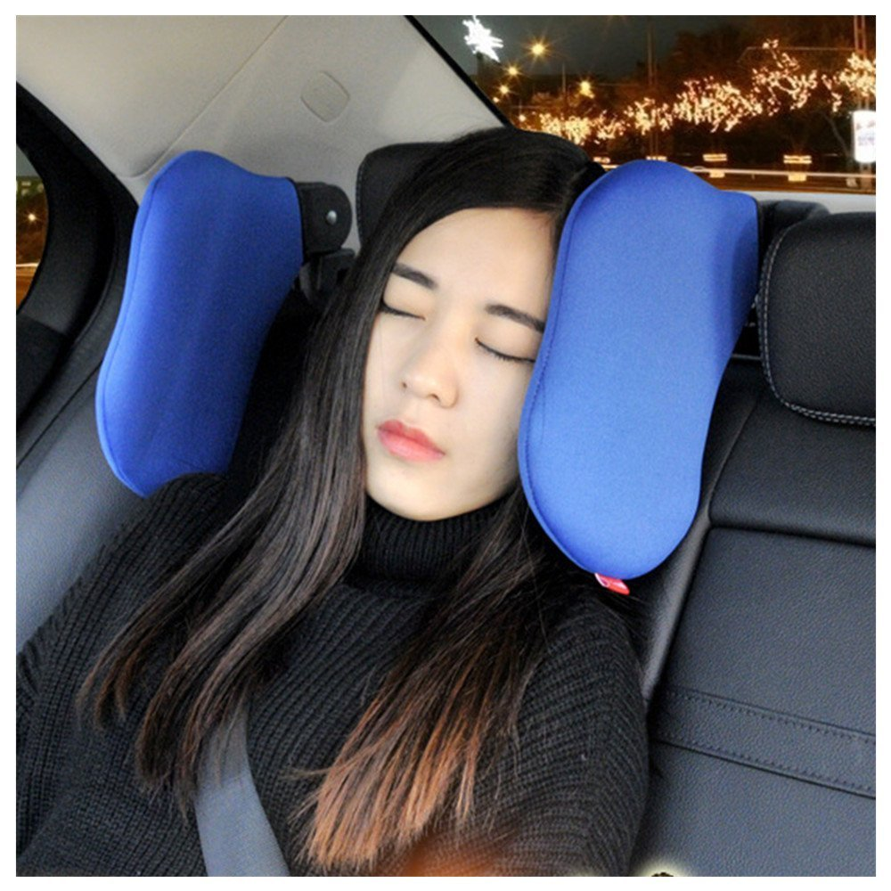 AUTOLOVER Adjustable Car Seat Headrest Soft Neck Support Pillow for Kids Adults (black)