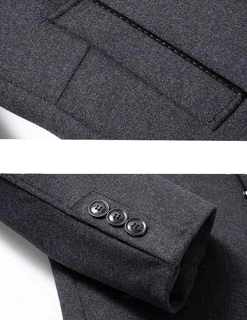 Nidicus Men Tactical Single Breasted Wool Blend Pea Coat Fur Collar Inner Vest