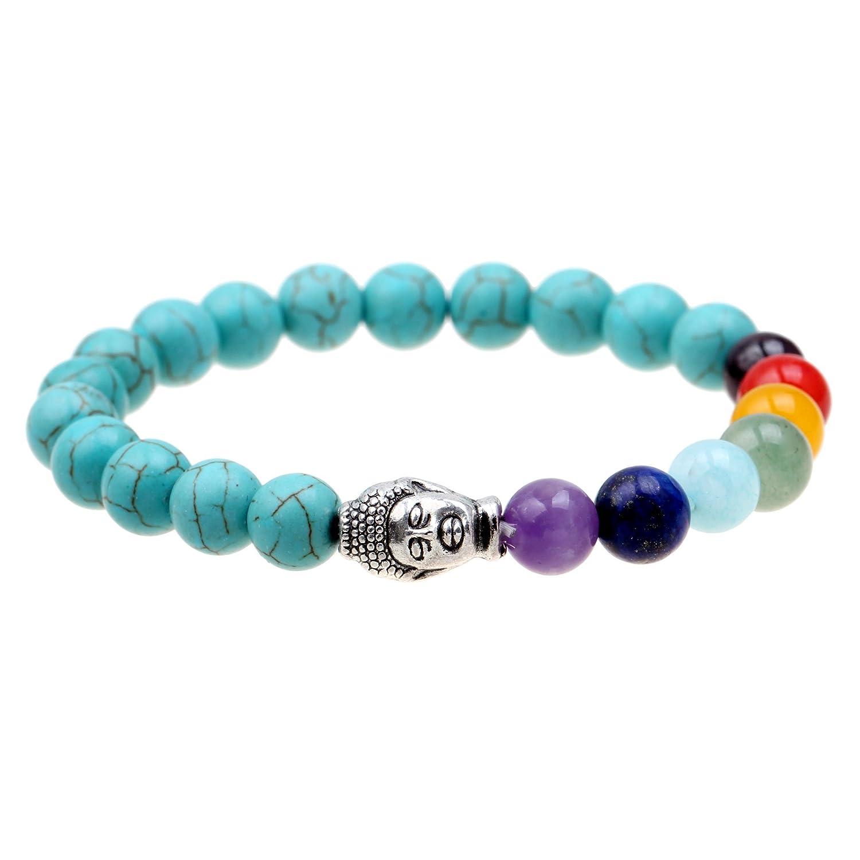 Msq Perles Bracelet pour homme femme Pierre naturelle Chakra Guérison Bracelet, Elastic Turquoise