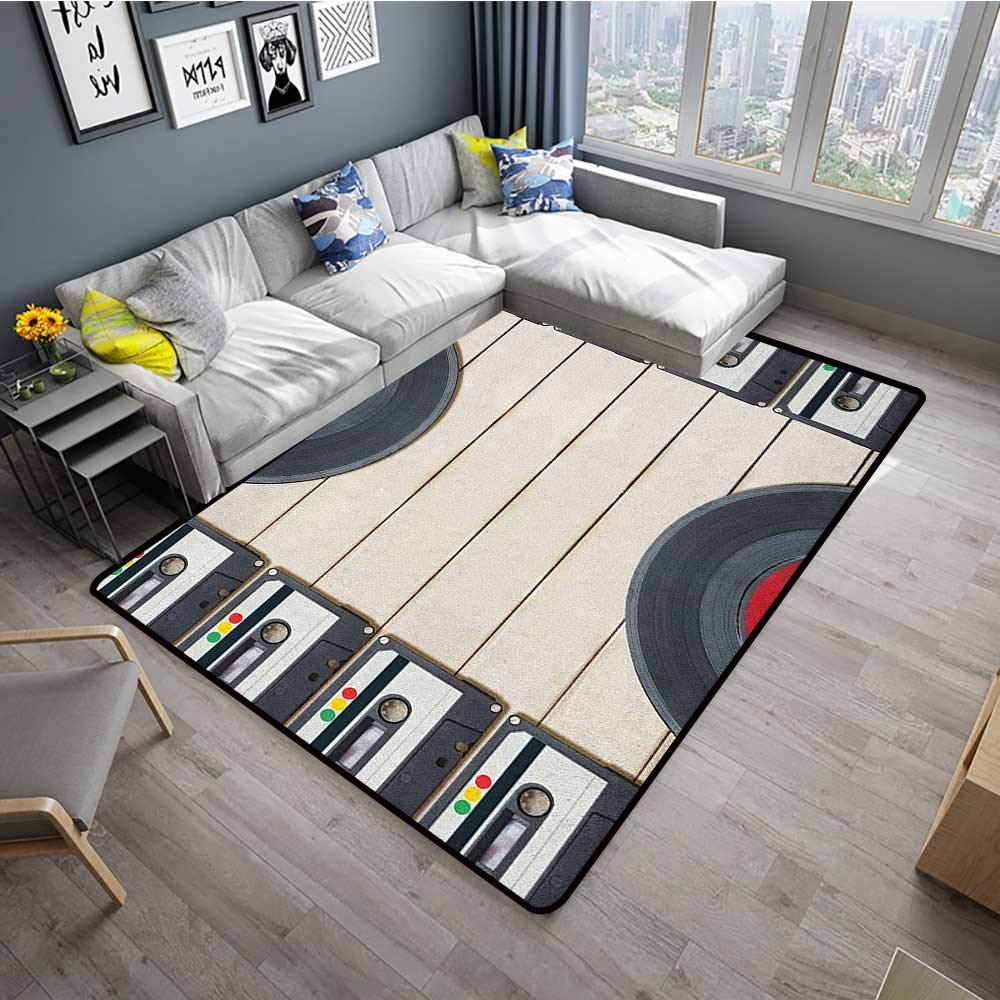 Indie Household Decorative Floor mat Top View of Audio Cassettes Gramophone Records Old School Retro Music Theme 78