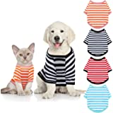 4 Pieces Dog Shirts Striped Dog T-Shirts Pet Stretchy Clothes Puppy Short Sleeves Shirts Cat Tank for Small Medium Dogs…