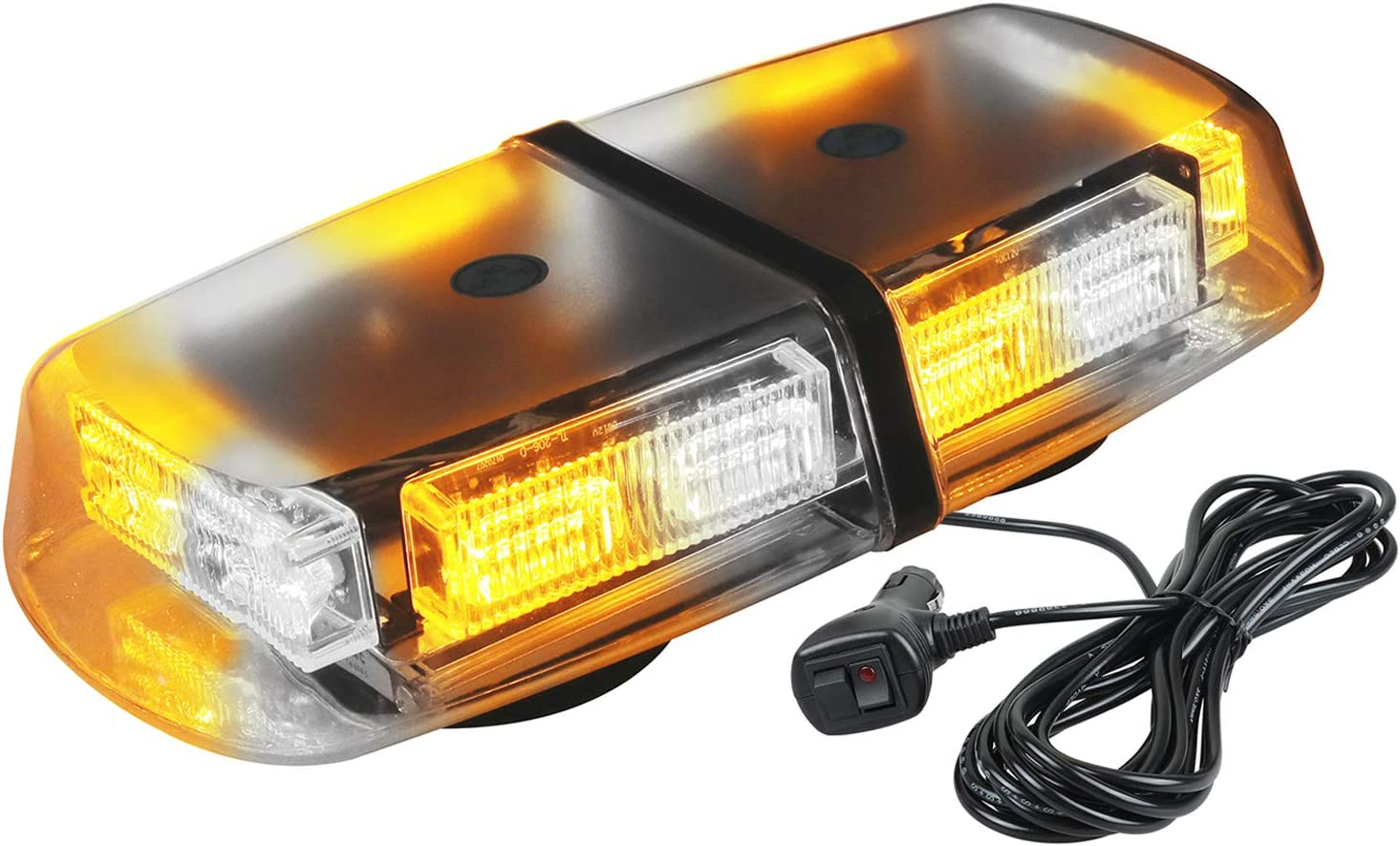ASPL 36LED 12V High Intensity Law Enforcement Emergency Hazard Warning LED Mini Bar Strobe Light with Magnetic Base for Snow Plow, Trucks, Construction Vehicles (Amber/White)