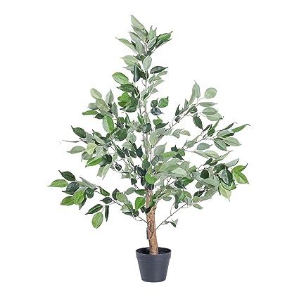Homescapes Tall Green Ficus Tree In Black Pot 100 Cm Faux Decorative