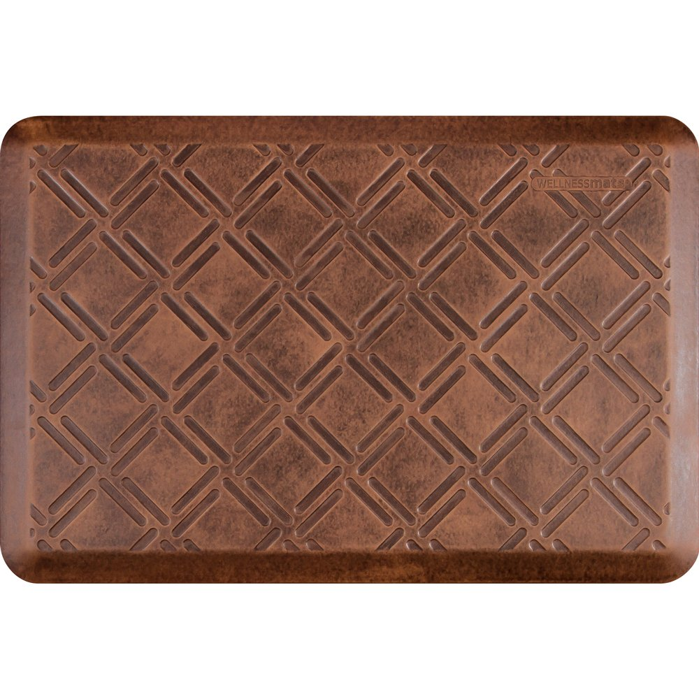 WellnessMats Anti-Fatigue 36 Inch by 24 Inch Moire Motif Kitchen Mat, Antique Light
