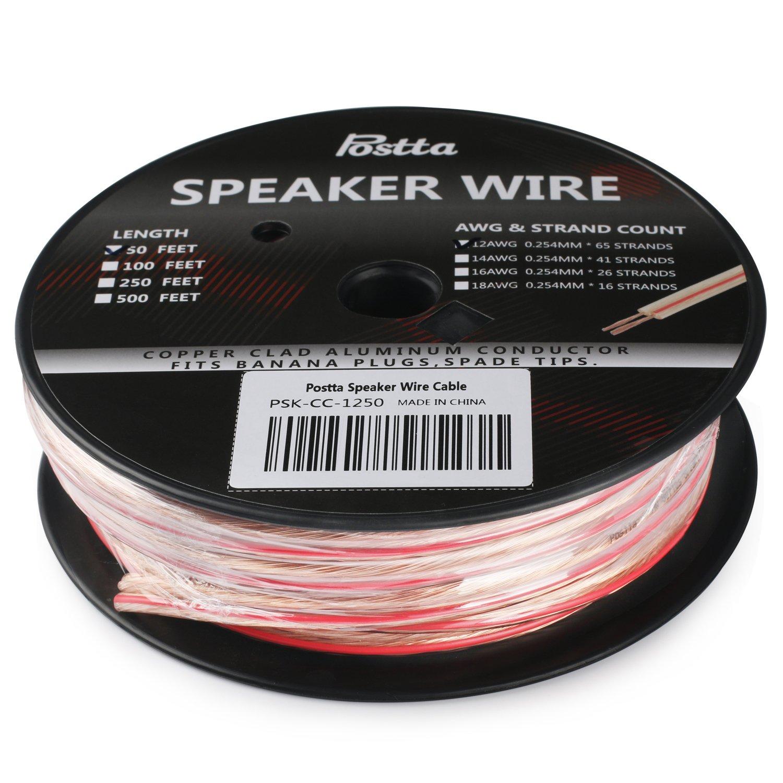 Amazon.com: Postta 12-Gauge Speaker Wire Cable - 50 Feet: Home Audio ...