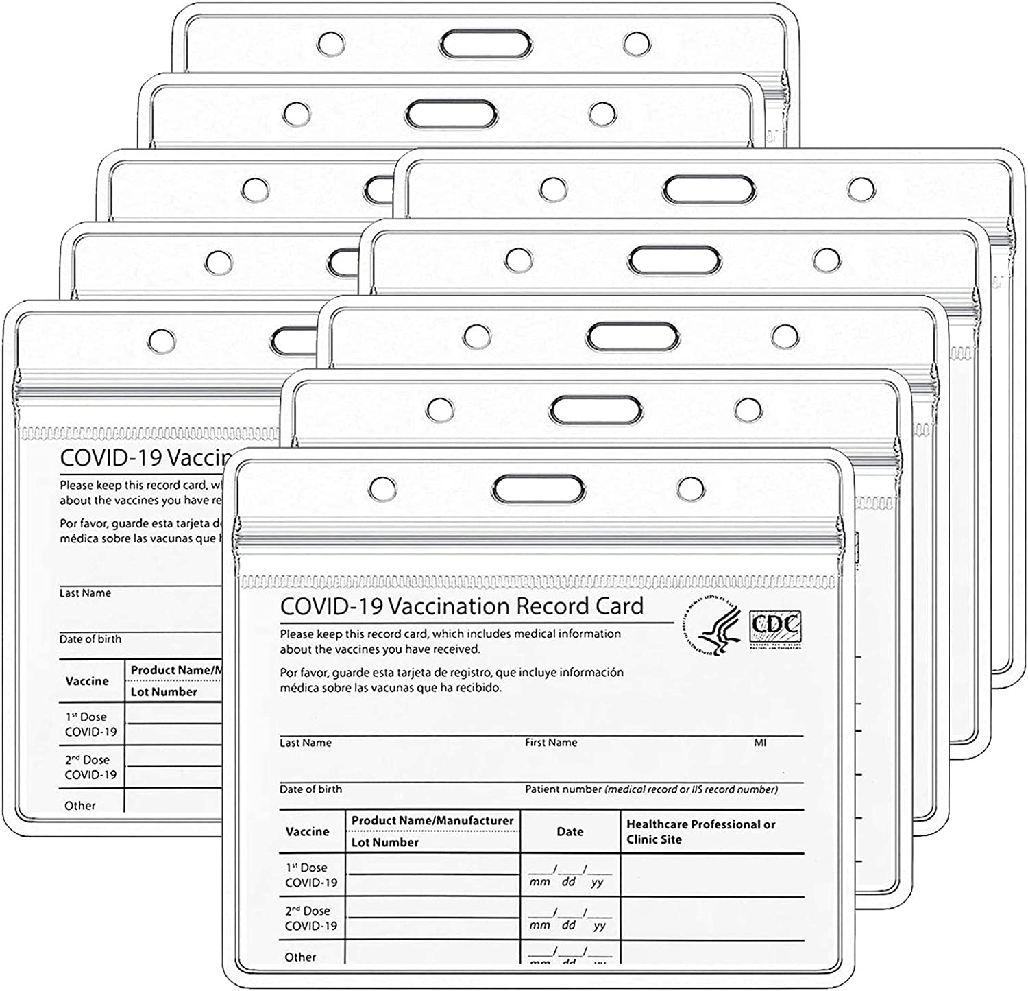 Credit Card Sleeves Horizontal 4x3 Inches PVC Clear Waterproof Badge Holder Medicare Business Card Protector with Slip Zip (10 Pack)