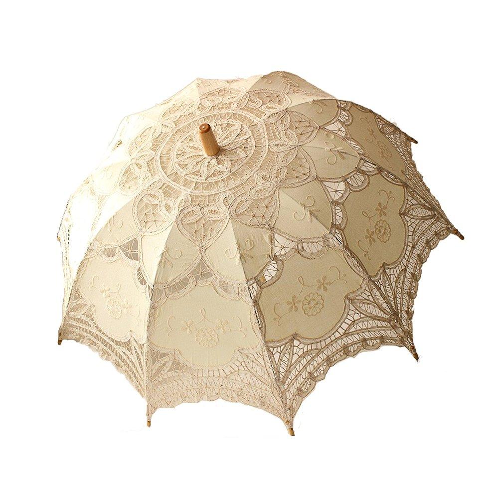Jannyshop Ombrelle en Dentelle, Dentelle Parapluies, Fait main De mariée Parasol Parapluie Mariage Décoration (Beige)
