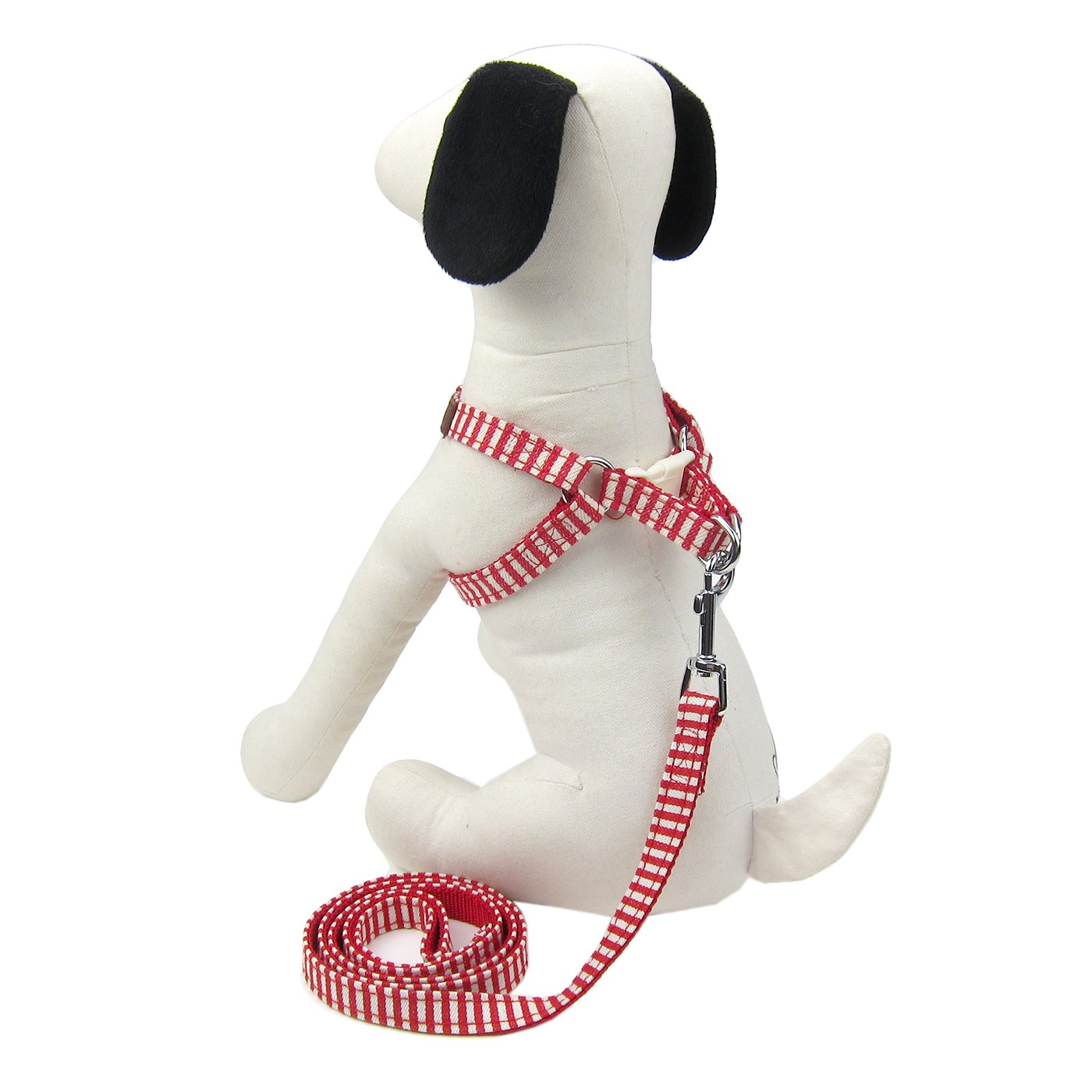 Alfie Pet by Petoga Couture - Harvest Harness and Leash Set - Color: Red Stripe, Size: Small