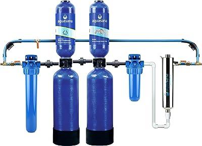 Aquasana Whole House Water Filter System w/ UV Purifier & Salt-Free Descaler - Filters Sediment & 97% Of Chlorine - Carbon & KDF Home Water Filtration - EQ-1000-AST-UV, Blue, 1,000,000-Gallon (EQ-1000-AST-UV-AMZN)