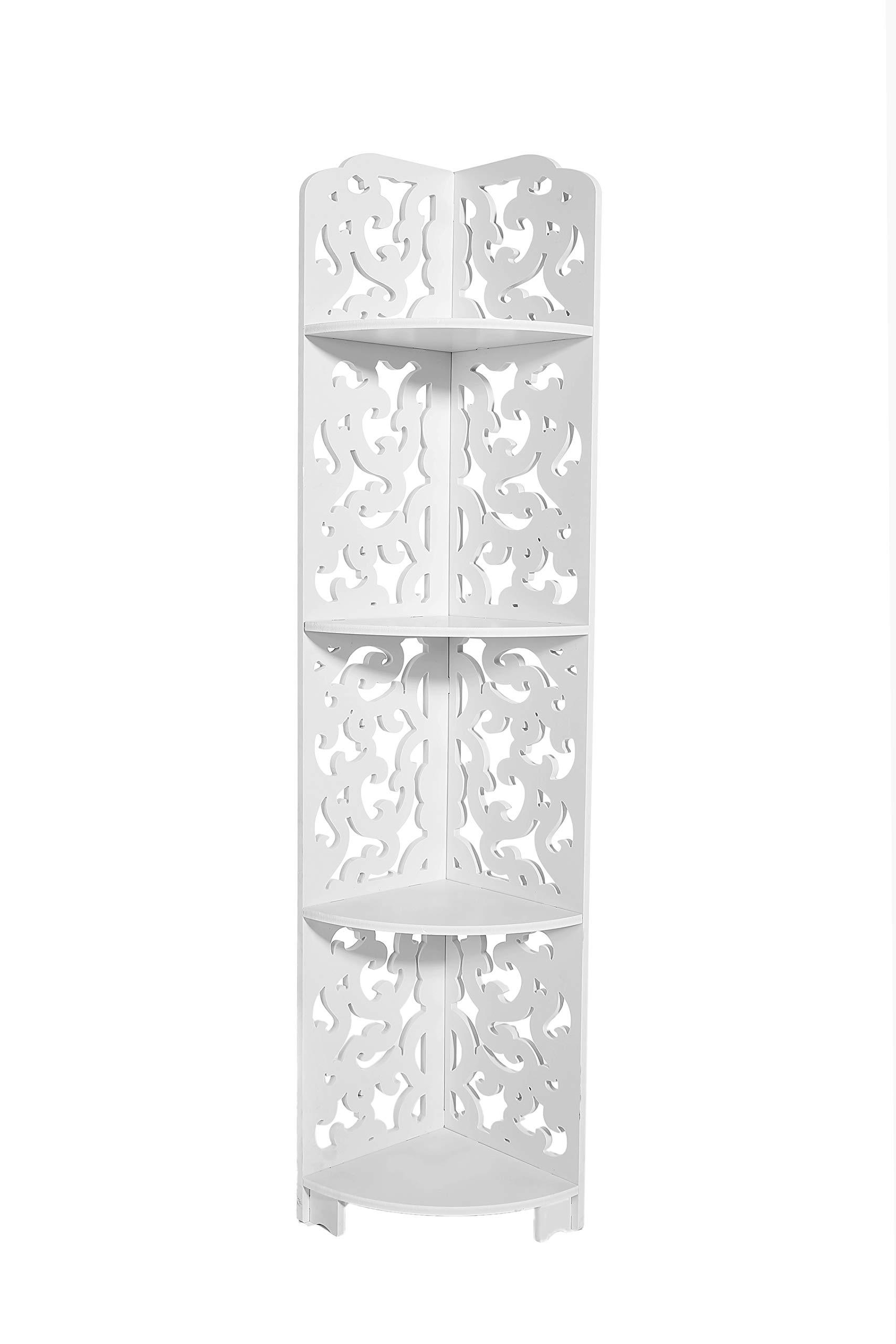 Dline -4 Tires Wood-Plastic Composites Corner Shelf, White 4C