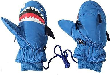 Shark Waterproof Kids Gloves Warm Boys Girls Mitten For Winter Children Outdoor Glove With String