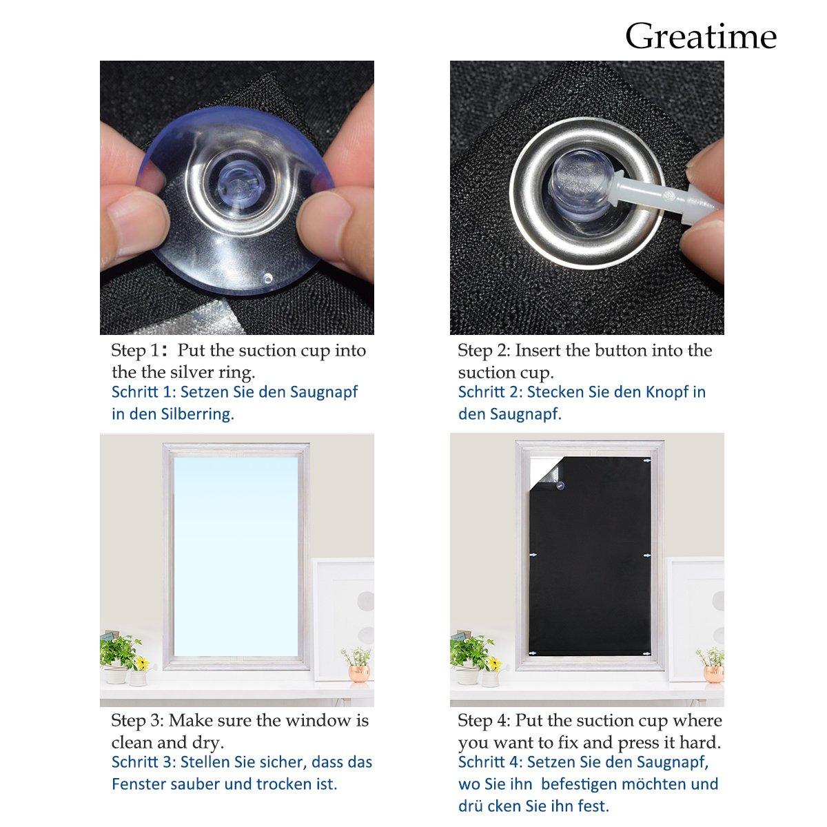 Greatime 100 Lichtundurchlässig Gardinen Mit Saugnäpfen Verdunkelungsvorhang Isolierung Für Velux Dachfenster Schwarz 60x93 Cm