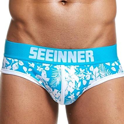 Bóxers Hombre, Manadlian Pantalones Cortos Boxers Reseña del Boxeador Ropa Interior (XL, Azul