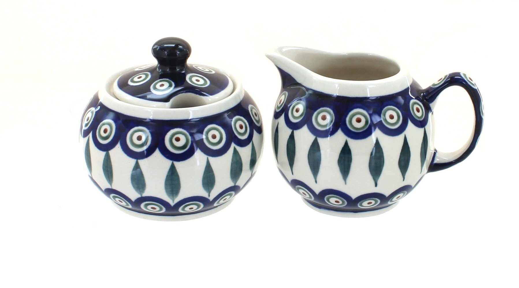 Blue Rose Polish Pottery Peacock Sugar & Creamer by Blue Rose Pottery