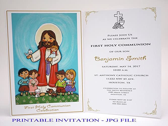 picture regarding First Communion Cards Printable known as : Lady to start with communion invitation female Jesus Boy or girl
