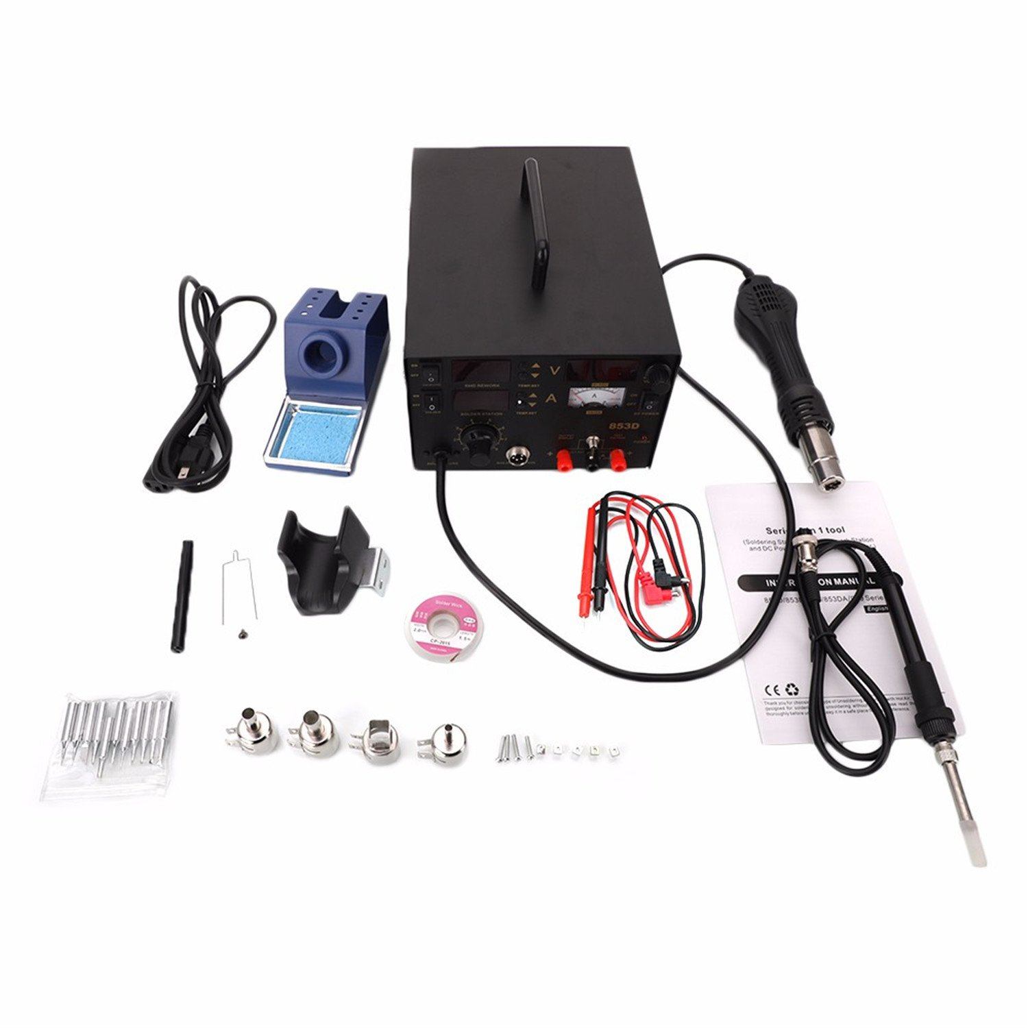 853D 3 in 1 Soldering Station & Hot Air Gun & Power Source Digital Display Constant-temperature Soldering Station with 11pcs Solder Tips & 1pc Solder Wick & 1pc IC Extractor US Plug Black