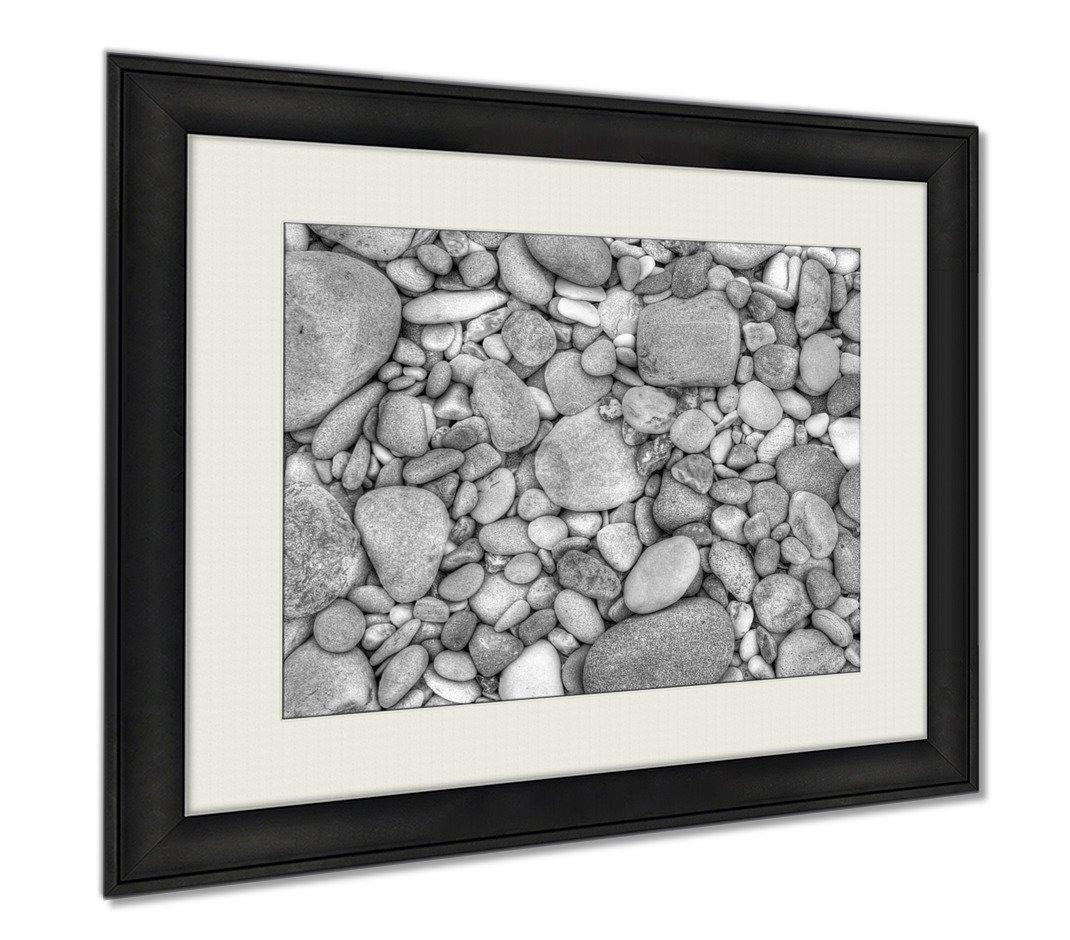 Ashley Framed Prints Pebbles, Wall Art Home Decoration, Black/White, 26x30 (frame size), AG6016384