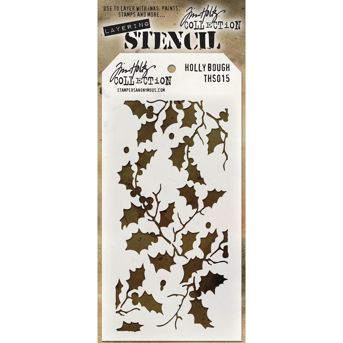 Tim Holtz Holly Bough Stencil by Tim Holtz