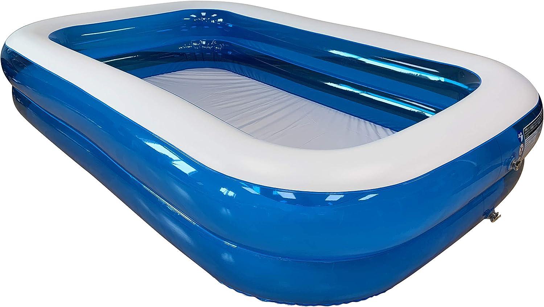KitGarden Pool 262TAZ - Piscina Hinchable Rectangular 660 litros, Azul/Transparente, 260x175x51cm: Amazon.es: Jardín