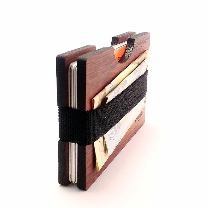 GenteelWood Madera de nogal hecho a mano cartera - Slim madera Wallet - Cartera de tarjeta de Crédito Wallet - Cartera Minimalista: Amazon.es: Zapatos y ...