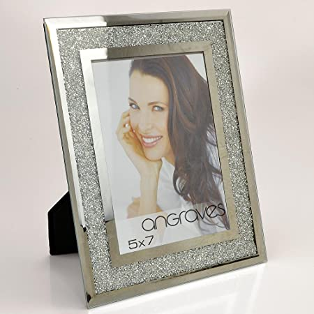 """Silver Glitter Sparkle Mirrored Glass Photo Picture Frame Free Standing 5x7/"""""""