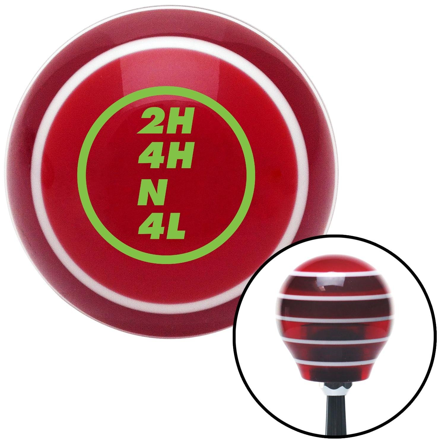 American Shifter 118310 Red Stripe Shift Knob with M16 x 1.5 Insert Green Transfer Case #8