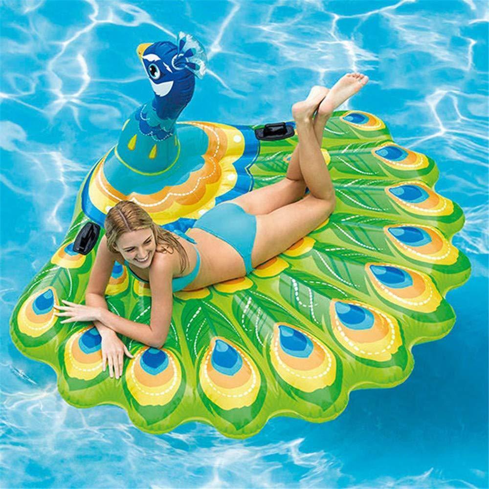 Aufblasbarer Schwimmringpose , Pfau Schwimmend Aufblasbarer Schwimmring des Großen Erwachsenen Sich Hin- Und Herbewegendes Bett Strand Spielt Wasserpark 195  165  95cm