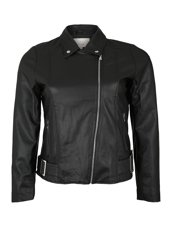 Lost Ink Plus Damen Übergangsjacke PU Jacket with Buckles