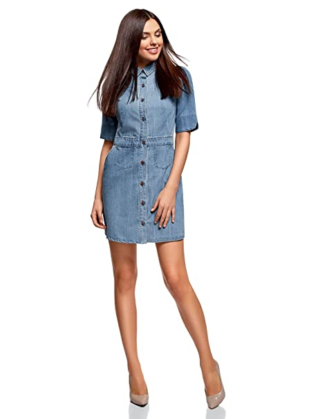 f1031ffa66 oodji Ultra Women s Buttoned Denim Dress  Amazon.co.uk  Clothing