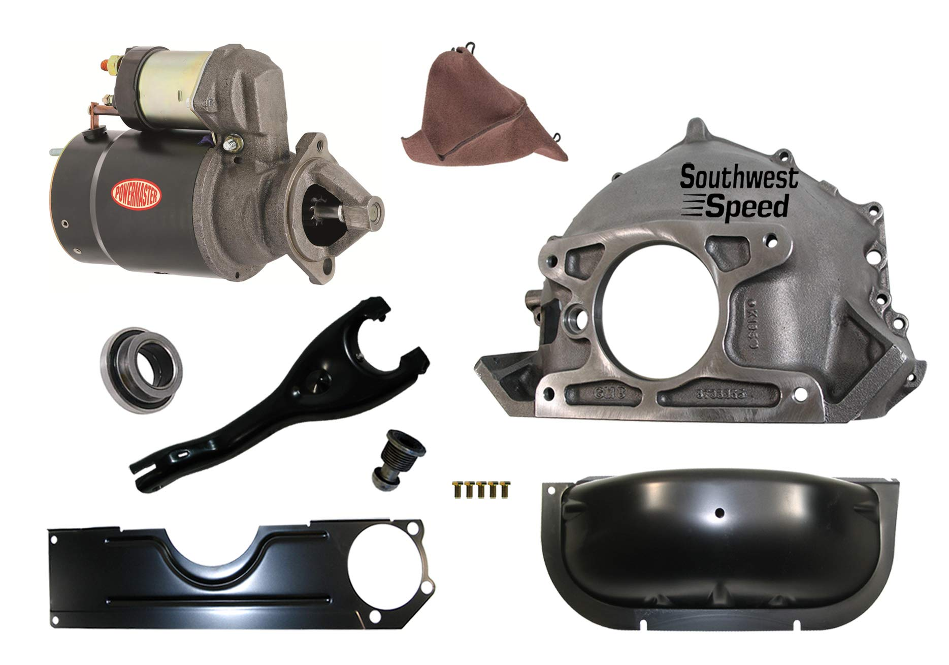 NEW CHEVY BELLHOUSING KIT WITH POWERMASTER STARTER,INSPECTION & DUST COVERS,CLUTCH FORK & BOOT,BALL & THROWOUT BEARING,FOR 55-57 CHEVY & 55-59 CORVETTE WITH MANUAL TRANSMISSION,STAMPED #GM 3733365