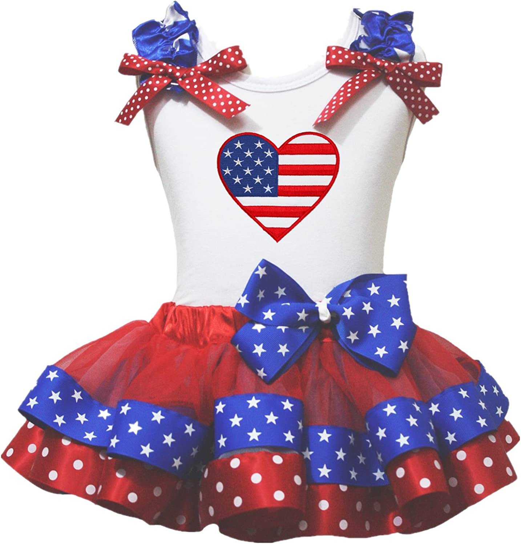Petitebella Proud of USA Heart White Shirt RWB Ribbon Petal Skirt Outfit Nb-8y