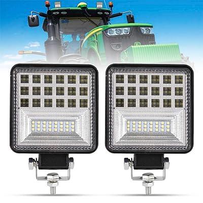 4 Inch LED Work Light - 2Pcs 8000LM Spot & Flood Combo Beam LED Light Bar for Tractor Vehicle Truck Jeep ATV UTV SUV Boat, 1 Year Warranty: Automotive