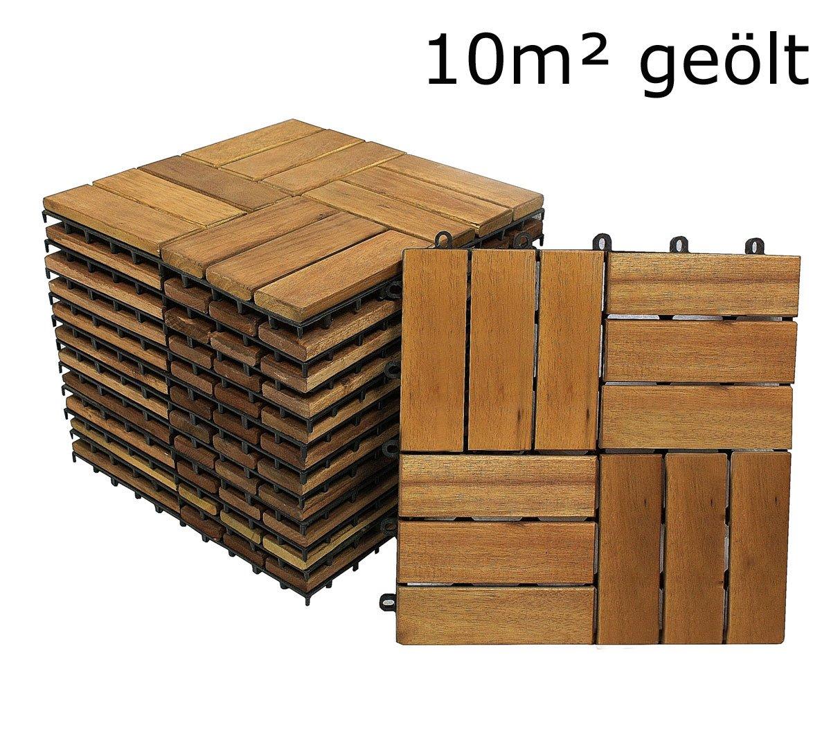 SAM® Terrassenfliese 02 aus Akazien-Holz, FSC® 100 % zertifiziert, 110er Spar-Set für 10 m², Garten-Fliese, 30 x 30 cm, Bodenbelag mit Drainage, Klick-Fliesen für Garten Terrasse Balkon