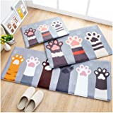 "Huluwa Door Mat, Cute Cartoon Floor Mat Entry Carpet, Bathroom Absorbent Mat, Bedroom Area Rug Entrance Mat, Cat Palm, 23.6""x 15.7"""