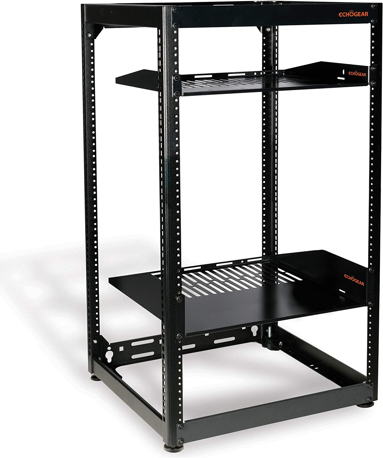 ECHOGEAR 20U Open Frame Rack - Heavy Duty 4 Post Design Holds All Your Network & AV Gear - Includes 2 Vented Shelves & is Wall Mountable