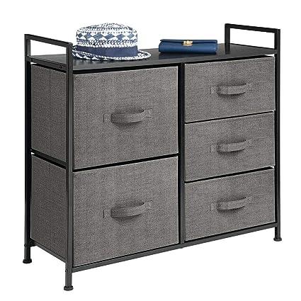 mDesign Cassettiera in tessuto – Comò con 5 cassetti – Pratico organizer  con cassetti ideale per camera da letto e bagno – antracite