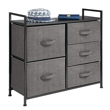 mDesign Cómoda de tela – Estrecho organizador de armarios con 5 cajones – Práctico mueble cajonera para el dormitorio, la habitación infantil o zonas ...