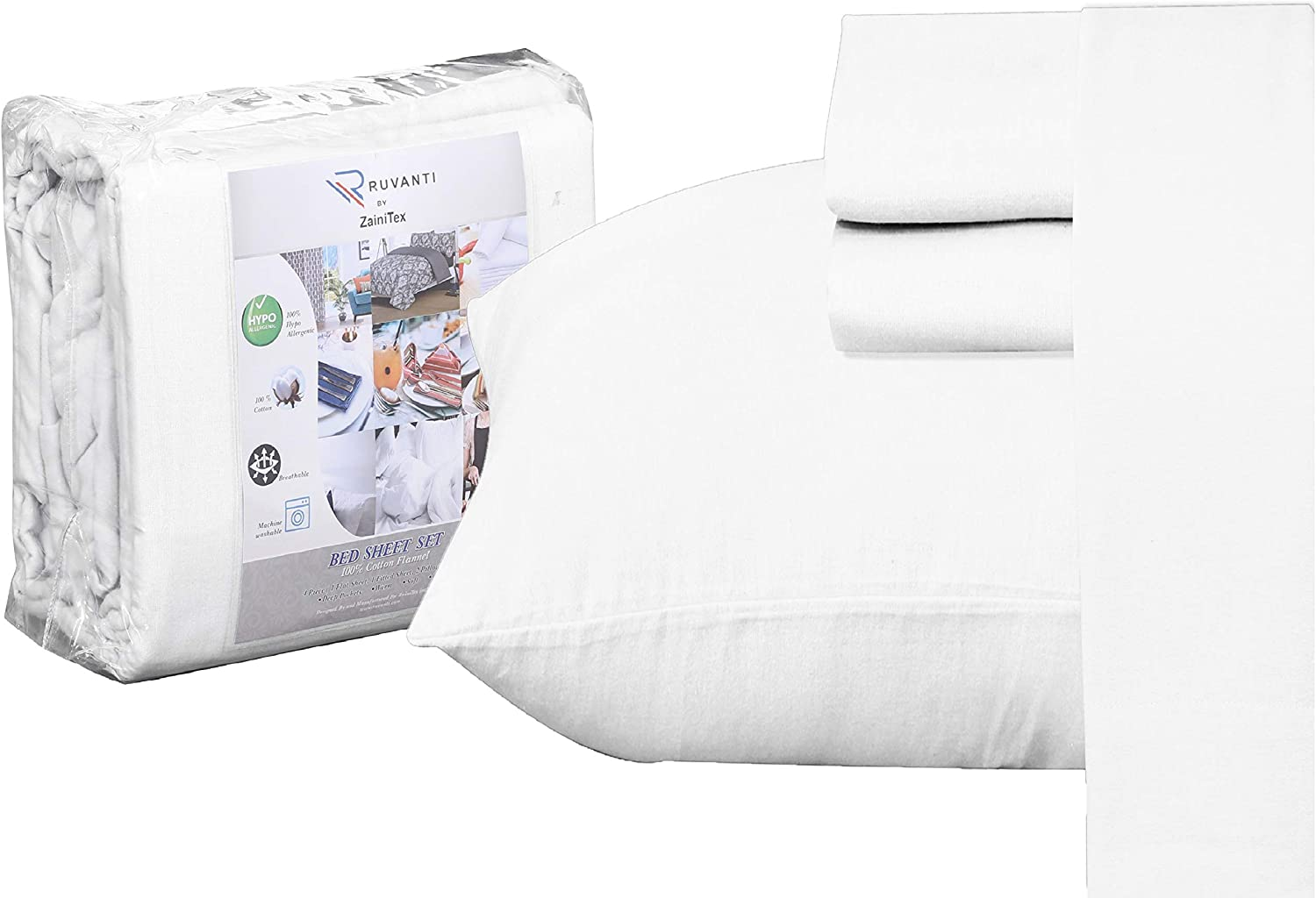 Ruvanti 100% Cotton 4 Piece Flannel Sheets Full-Deep Pocket-All Seasons-Warm-Super Soft-White-Breathable & Moisture Wicking Flannel Bed Sheet Set Full Include Flat, Fitted Sheet & 2 Pillowcases