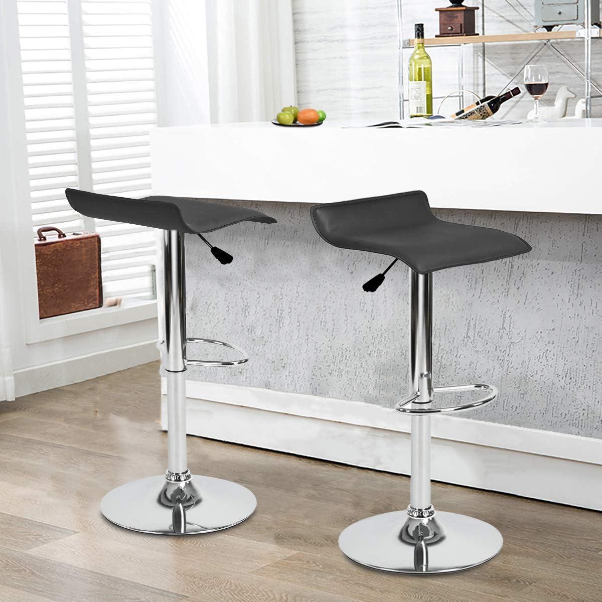 Furnish 1 Lot de 2 Tabourets de Bar pivotants r/églables de Couverture de PVC Noir tabourets de Bar de comptoir de Cuisine hydrauliques sans Bras