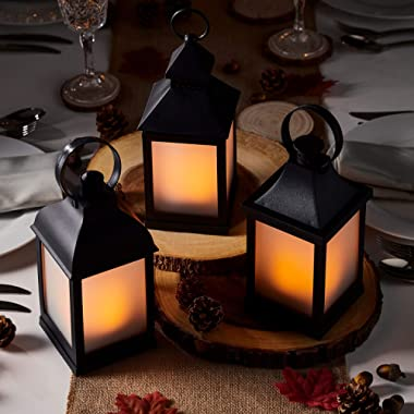 Lights4fun, Inc. Set of 3 Matte Black Battery Operated Flickering Flame LED Lanterns for Indoor Outdoor Use