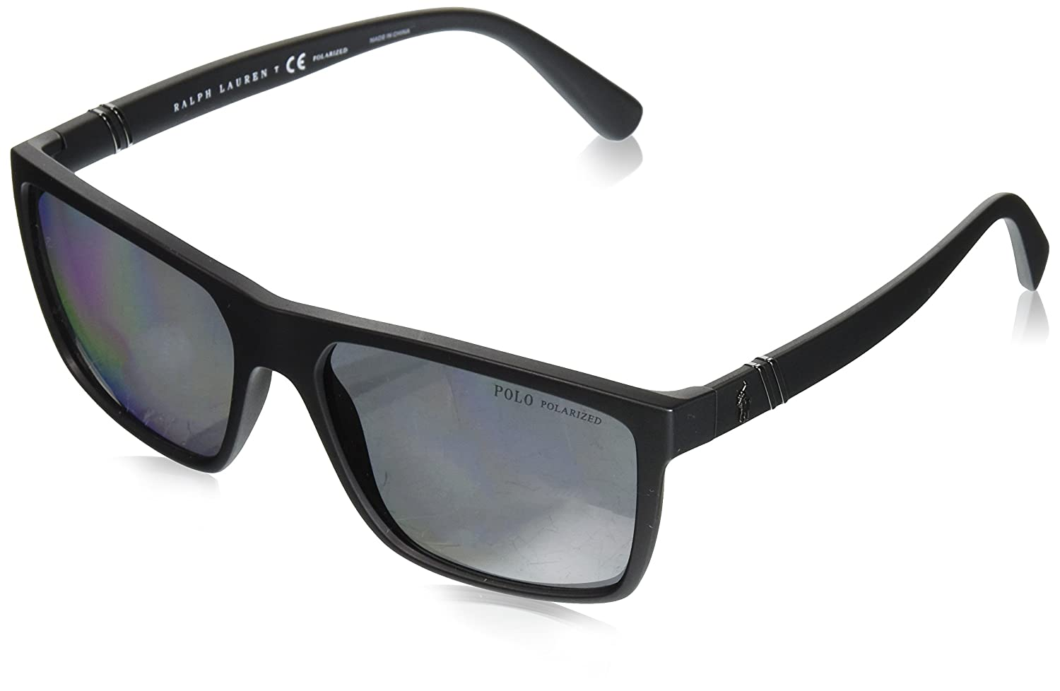 Polo Ralph Lauren Mens Plastic Man Sunglass Polarized Rectangular Sunglasses, MATTE BLACK, 59 mm