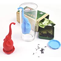 Silicone Tea Strainer Tea Bags for Loose Tea Silicone infuser Filter Strainer with Drip Tray, Set of 2 (1 Sky blue 1 red Tea) Reusable Strainer animal shape | tea Strainer for loose tea | Loose Tea Leaf Strainer