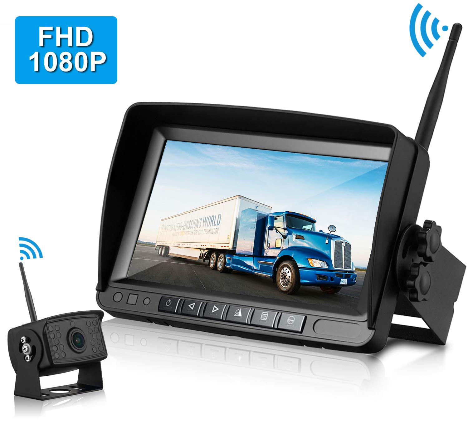 ZSMJ FHD 1080P Digital Wireless Backup Camera with 7'' Monitor Support Dual/Quad Split Screen for Trailers,RVs,Trucks,Campers High-Speed Observation System Guide Lines On/Off by DoHonest