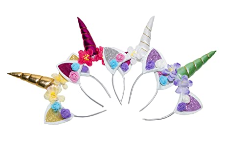 Apparel Accessories Good Girls Magical Unicorn Horn Ears Headband Fancy Dress Costume Glitter Gold/silver Vivid And Great In Style