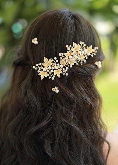 f990ba0b76ad0 Amazon.com  Missgrace Bridal Crystal Leaf Rose Gold Hair Pins Women Crystal  Headpiece Wedding Rose Gold Leaf Hair Pins Clip Hair Jewelry Wedding Hair  ...