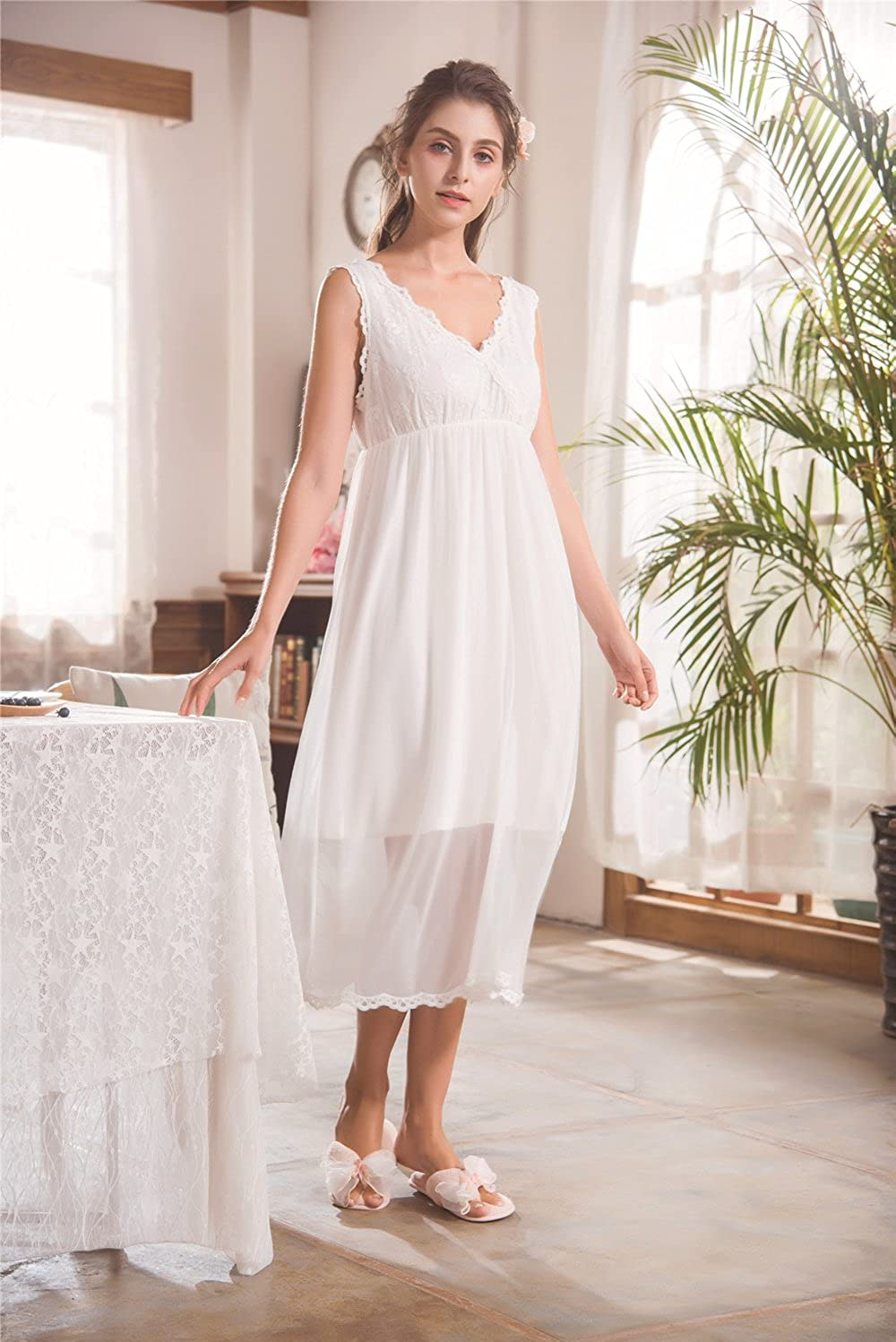 d66a0781ff Flaydigo Women White Nightdress,Ladies Long Cotton Victorian Sleeveless  Nightgown …  Amazon.ca  Clothing   Accessories