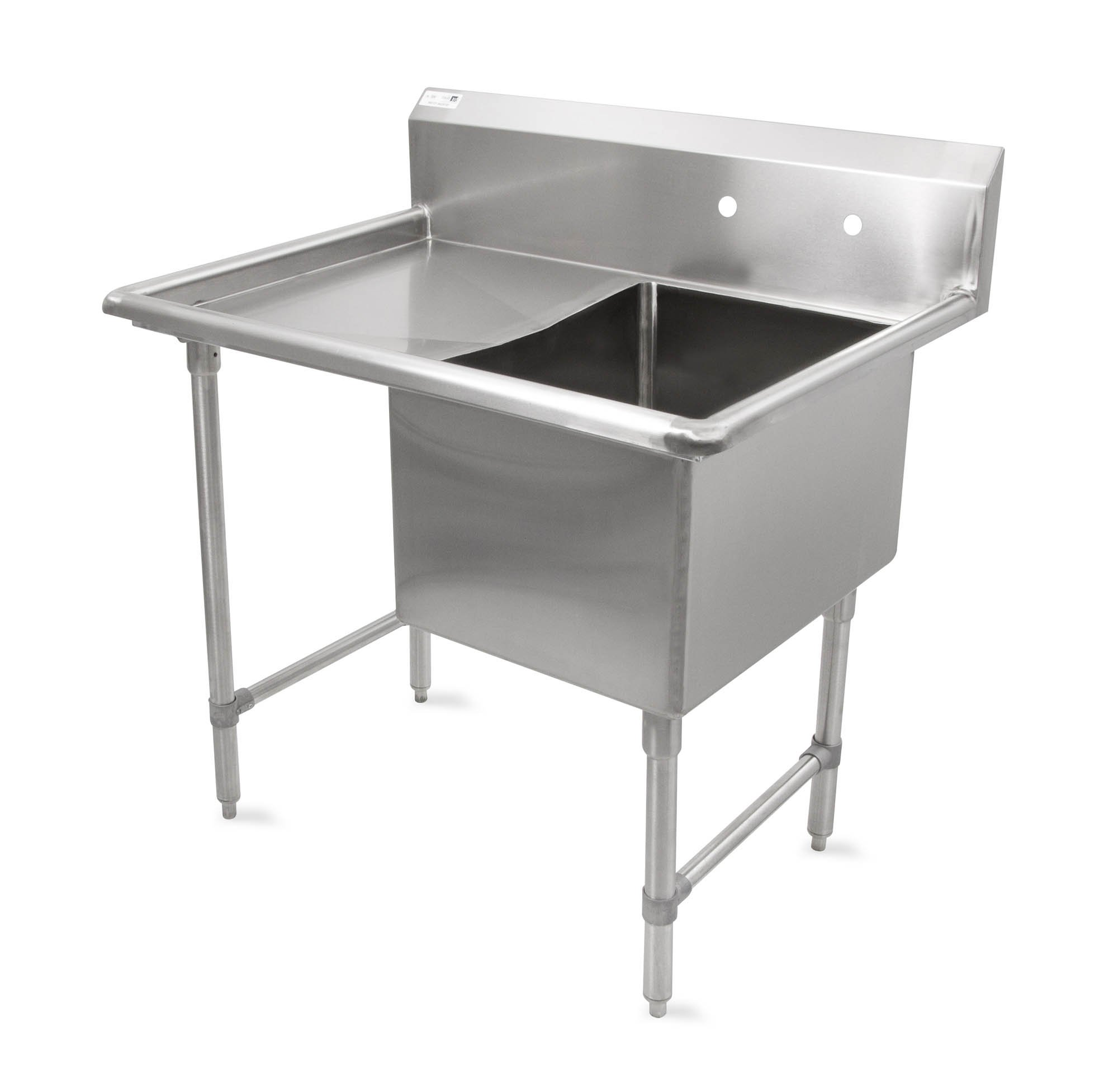 John Boos B Series Stainless Steel Sink, 14'' Deep Bowl, 1 Compartment, 18'' Left Hand Side Drainboard, 40'' Length x 23-1/2'' Width