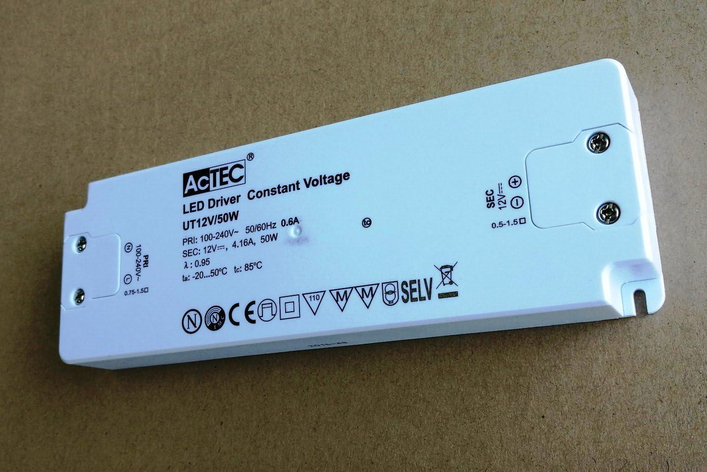 Fuente de alimentaci/ón Transformador para LED actec Slim CV Mode 12/V 50/W Tensi/ón Constante