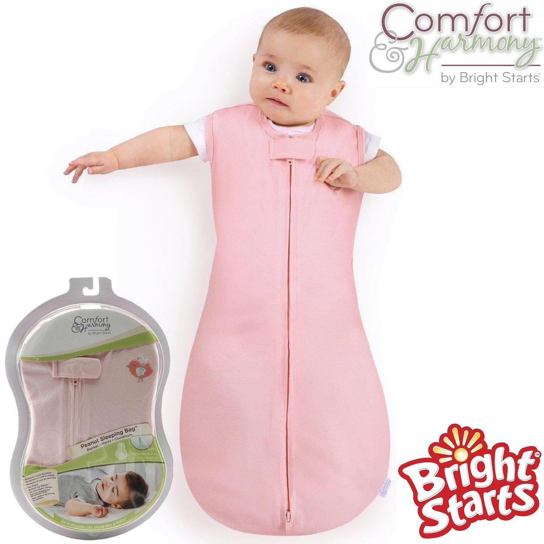 Bright Starts® Comfort & Harmony Swaddle Baby Blanket Peanut Sleeping Bag Unisex Boy Girl 100% Pure Cotton (White)